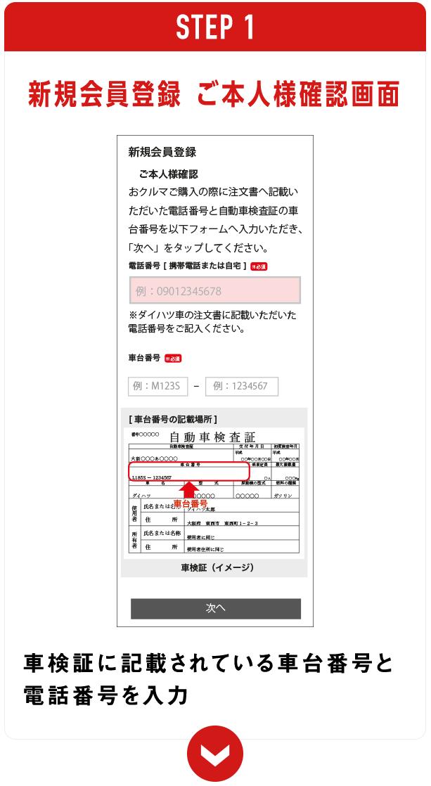 新規会員登録 ご本人様確認画面 車検証に記載されている車台番号と電話番号を入力