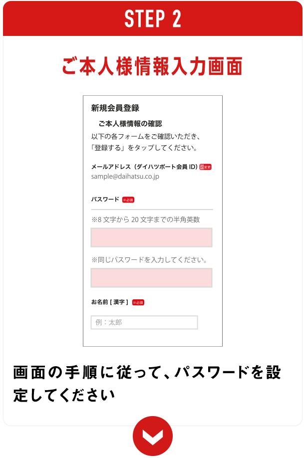 ご本人様情報入力画面 画面の手順に従って、パスワードを設定してください