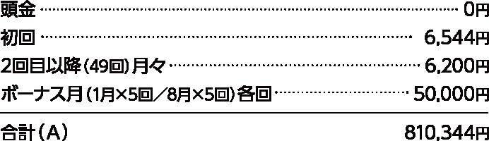 頭金0円、初回7,890円、2回目以降(50回)月々7,800円、ボーナス月(8月×5回/1月×4回)各回50,000円 合計(A)847,890円