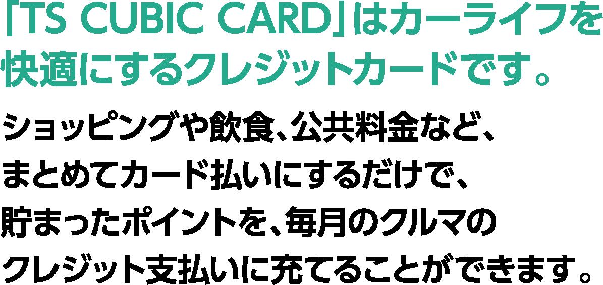 ポイラク カードのポイントで月々の負担を軽減!!「TS CUBIC CARD」はカーライフを快適にするクレジットカードです。ショッピングや飲食、公共料金などをまとめてカード払いにするだけで、たまったポイントを、毎月の車のクレジット支払いに充てる事ができます